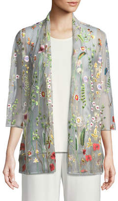 Caroline Rose Garden Walk Embroidered Mesh Cardigan, Plus Size