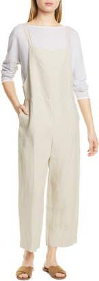 Eileen Fisher Crop Organic Linen Overalls