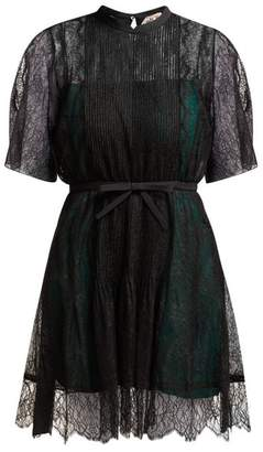 No.21 No. 21 - Pleated Floral Lace Mini Dress - Womens - Black