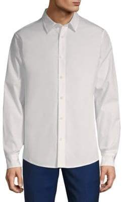 Vince Reverse Placket Cotton Button-Down Shirt