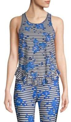 Kate Spade Women's Hibiscus Stripe Tank Top - Rich Navy - Size Large