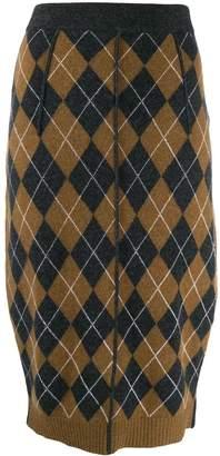 Pringle patchwork argyle pencil skirt