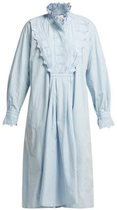 Etoile Isabel Marant Molan Ruffled Cotton Midi Dress - Womens - Light Blue