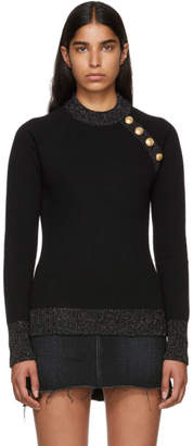 Balmain Black and Silver Cashmere Sweater