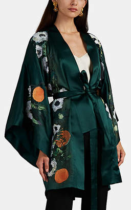 Alice Archer Women's Haven Floral-Embroidered Silk Short Kimono - Green