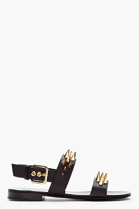 Giuseppe Zanotti Black leather and gold studded Zak 10 sandals