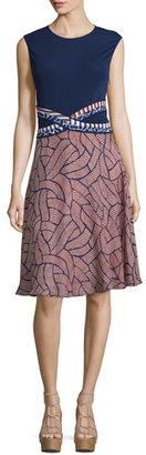 Diane von Furstenberg Rosalie Mixed-Print Fit & Flare Dress $448 thestylecure.com