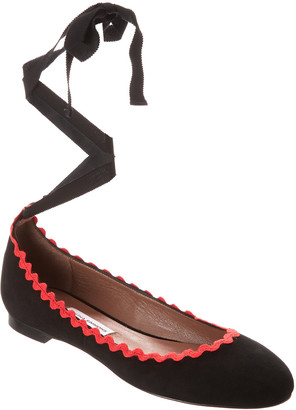 Tabitha Simmons Daria Embroidered Ankle-Wrap Suede Flat