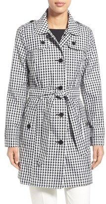 Women's London Fog Gingham Print Single Breasted Trench Coat $210 thestylecure.com