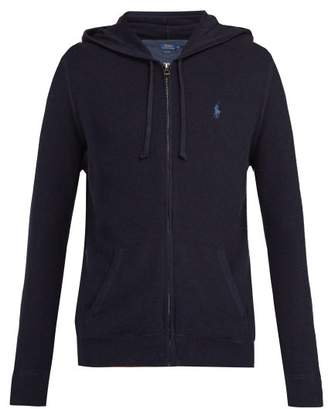 Polo Ralph Lauren Logo Embroidered Hooded Cotton Pique Sweatshirt - Mens - Navy