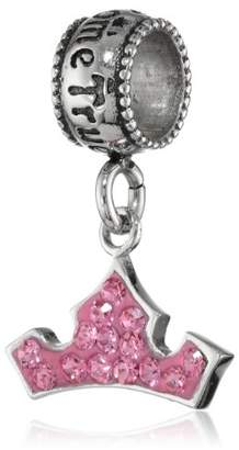 "Disney Stainless Crystal Crown Dangle ""Dreams Do Come True"" Bead Charm"