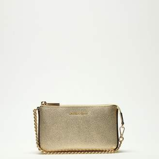 Michael Kors Mid Chain Pale Gold Tumbled Leather Pouchette