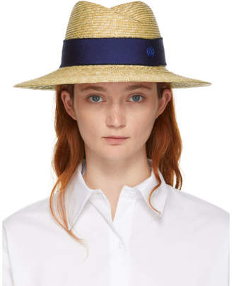Maison Michel Beige and Navy Straw Virginie Fedora