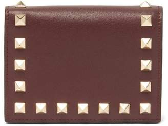 Valentino Rockstud Bi Fold Leather Wallet - Womens - Burgundy