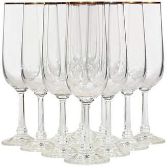 One Kings Lane Vintage Gilt Rim Champagne Flutes - Set of 11