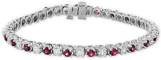 Effy Certified Ruby (3 ct. t.w.) & Diamond (2-1/6 ct. t.w.) Bracelet in 14k White Gold