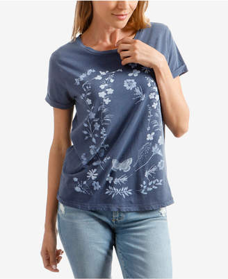 Lucky Brand Cotton Floral-Print Graphic T-Shirt