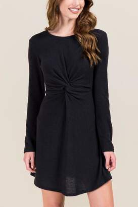 francesca's Pam Long Sleeve Knot Front Dress - Black