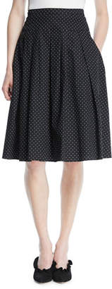 Michael Kors Pindot Stretch-Poplin Pleat Flare Knee-Length Skirt