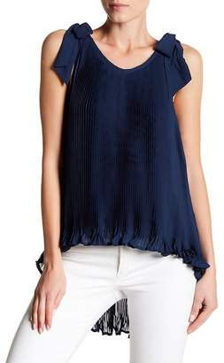 Romeo & Juliet Couture Shoulder Tie Pleated Tank