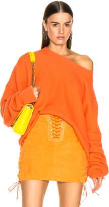 Unravel Rib Oversize Crew Sweater in Orange | FWRD