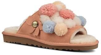UGG Women's Clio Sheepskin Pom-Pom Slide Sandals