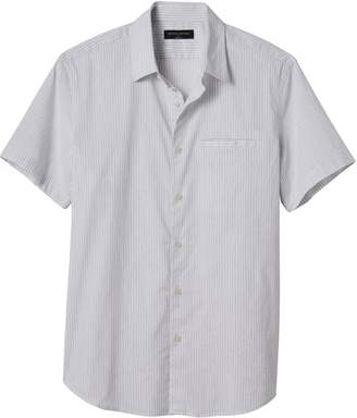 Banana Republic Men's Slim Fit Striped Stretch Short Sleeve Shirt Light Grey