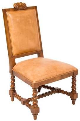 Ralph Lauren Henredon Leather & Wood Baroque-Style Side Chair