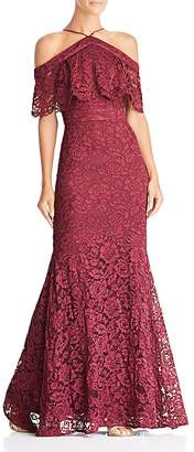 Laundry by Shelli Segal Cold-Shoulder Lace Gown