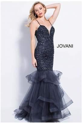 Jovani Charcoal Embellished Gown