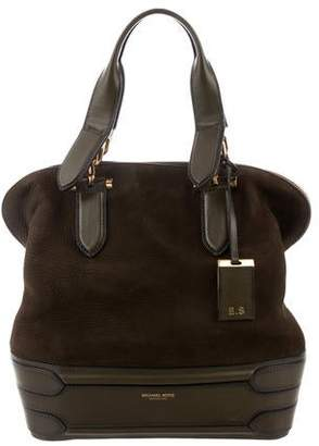 Michael Kors Leather-Trimmed Suede Satchel