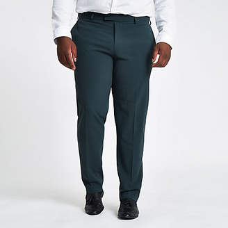 River Island Big and Tall dark green slim fit suit pants