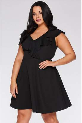 Quiz Curve Black V Neck Skater Dress