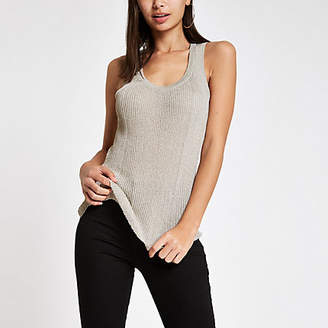 River Island Silver metallic knit ribbed scoop neck tank
