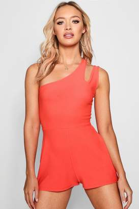 boohoo One Shoulder Cut Out Playsuits