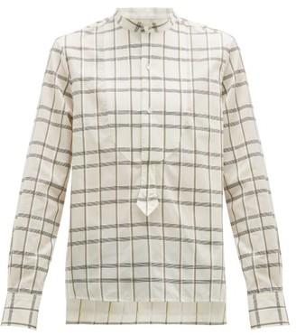 Palmer Harding Palmer//Harding Palmer//harding - Darren Bib Panel Checked Cotton Shirt - Mens - Beige Multi