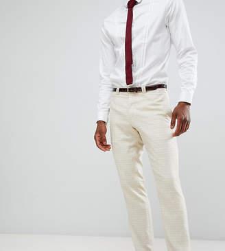Noak slim wedding suit pants in linen mix check
