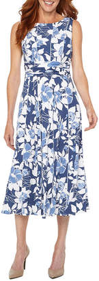 Perceptions Sleeveless Puff Print Fit & Flare Dress