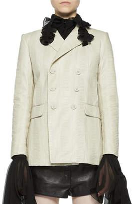 Saint Laurent Double-Breasted Snakeskin Jacket