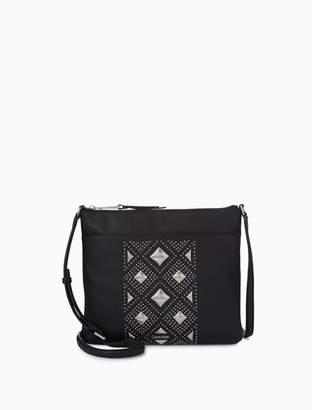 Calvin Klein pebble leather studded pattern crossbody bag