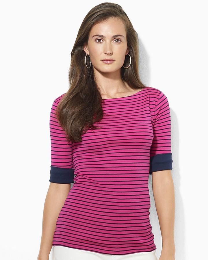Lauren Ralph Lauren Elbow-Sleeve Stripe Shirt