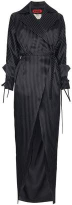 Ronald Van Der Kemp oversized maxi stripe trench coat
