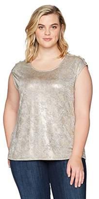 Calvin Klein Women's Plus Size Metallic Snake Sleeveless Top