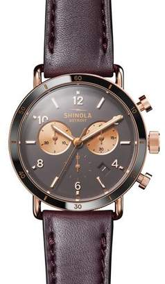 Shinola Men's 40mm Canfield Sport Chronograph Watch with Brown Leather Strap