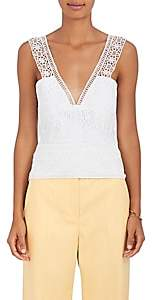 Alberta Ferretti Women's Crochet V-Neck Top - White
