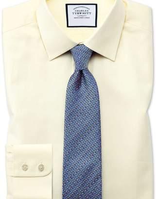 Charles Tyrwhitt Classic fit fine herringbone yellow shirt