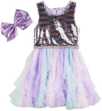 Knitworks Girls 4-6x Sequined Tulle Dress & Bow Set