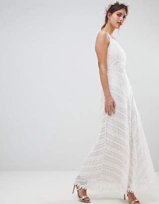 Minuet Racer Neck Maxi Dress With All Over Lace Detail