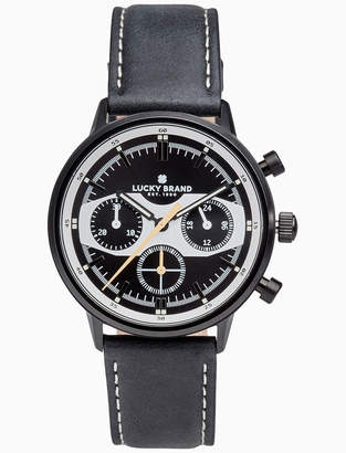 Lucky Brand FAIRFAX RACING BLACK LEATHER WATCH, 40MM