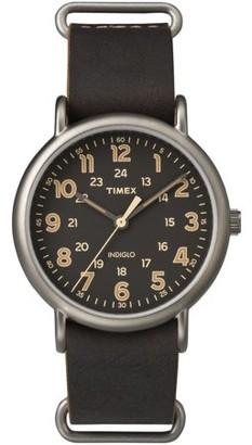 Timex Men's Weekender Oversized Titanium-Tone Watch, Dark Brown Leather Slip-Thru Strap